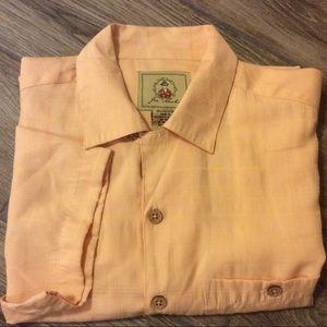Joe Marlin orange beach shirt rayon blend size M